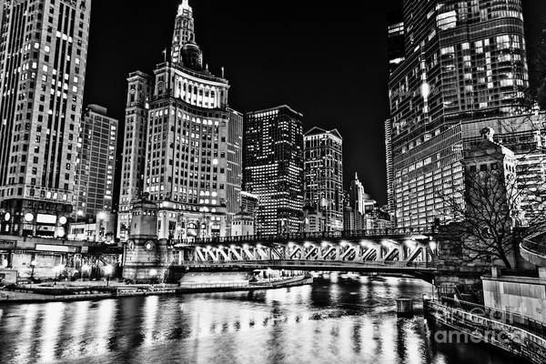 Wall Art - Photograph - Chicago River Skyline At Night Picture by Paul Velgos