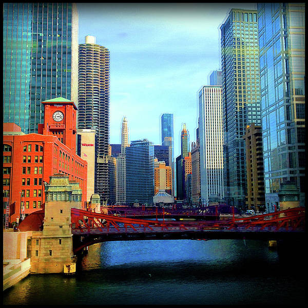 Photograph - Chicago River Skyline Bridges by Patrick Malon