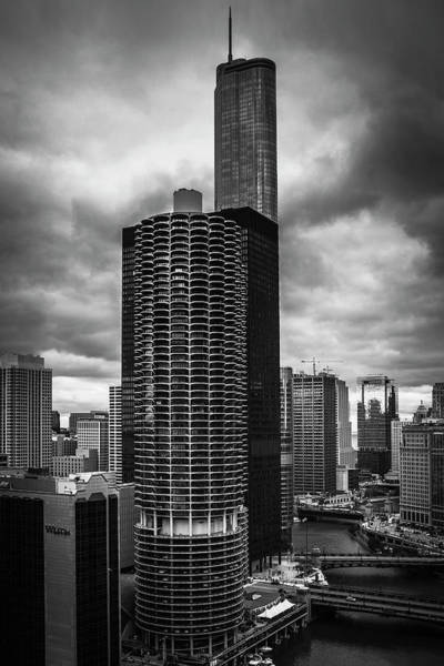 Chicago Skyline Art Photograph - Chicago River Under Storm Clouds by Andrew Soundarajan