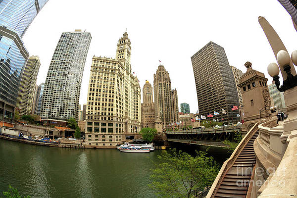 Photograph - Chicago River View Fisheye by John Rizzuto