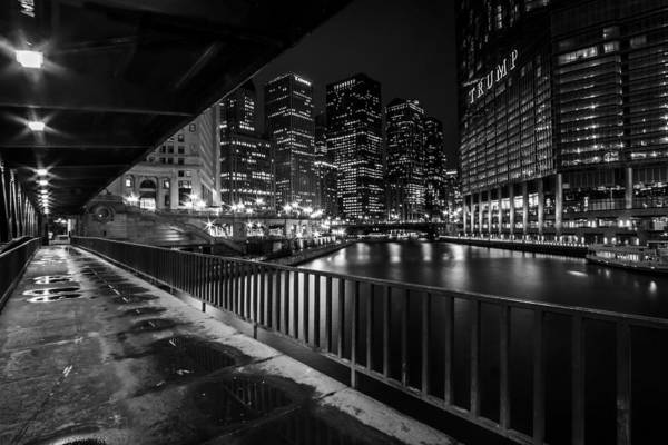 Photograph - Chicago River View In Black And White  by Sven Brogren