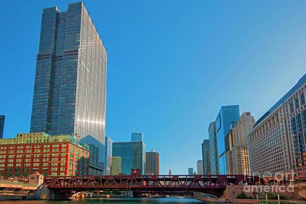 Photograph - Chicago River Wells St Bridge by Tom Jelen
