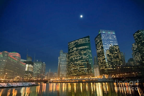 Photograph - Chicago River With Skyline And Moon by Sven Brogren