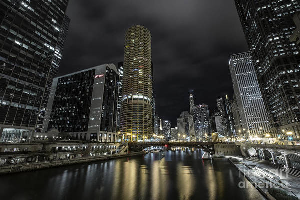 Photograph - Chicago Riverfront Skyline At Night by Keith Kapple