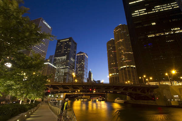 Photograph - Chicago Riverwalk At Dusk by Sven Brogren