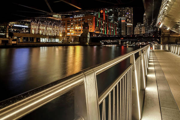 Photograph - Chicago Riverwalk Night Scene by Sven Brogren