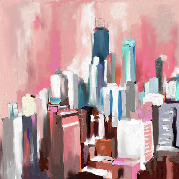 Wall Art - Painting - Chicago Skyline 649 2 by Mawra Tahreem