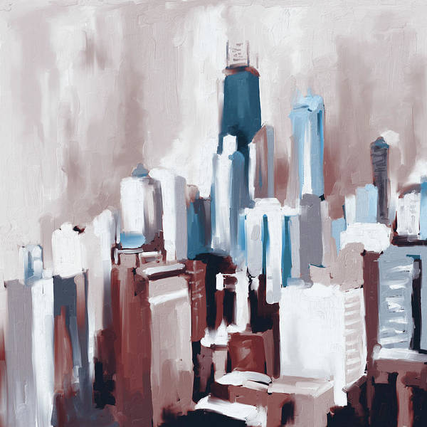 Wall Art - Painting - Chicago Skyline 649 3 by Mawra Tahreem