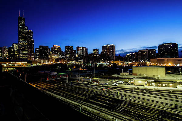 Photograph - Chicago Skyline And Railroad Yard by Sven Brogren