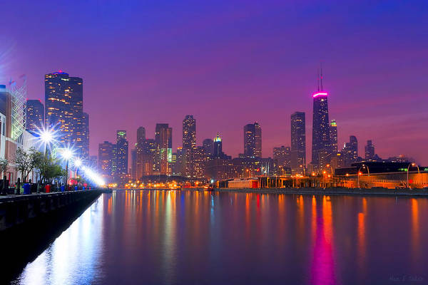 Wall Art - Photograph - Chicago Skyline As Night Falls by Mark Tisdale