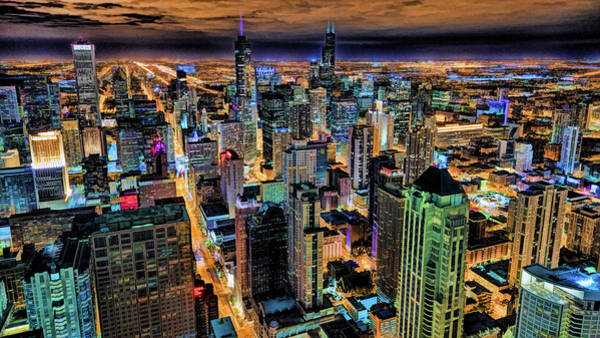 Painting - Chicago Skyline At Night by Christopher Arndt