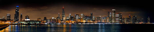 Chicago Skyline Photograph - Chicago Skyline At Night Extra Wide Panorama by Jon Holiday
