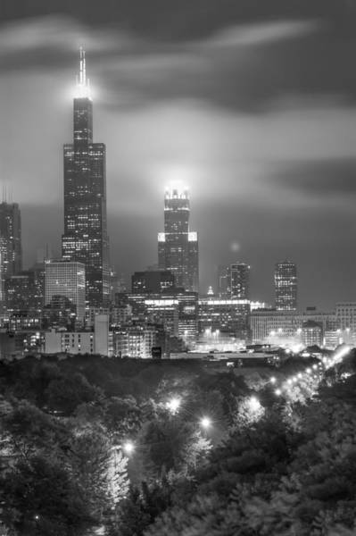 Photograph - Chicago Skyline At Night In Black And White by Gregory Ballos
