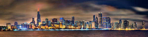 Chicago Skyline Photograph - Chicago Skyline At Night Panorama by Jon Holiday