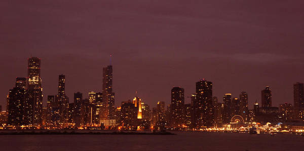 Wall Art - Photograph - Chicago Skyline At Night by Art Spectrum