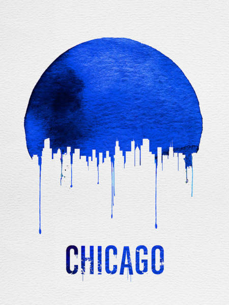 Chicago Painting - Chicago Skyline Blue by Naxart Studio