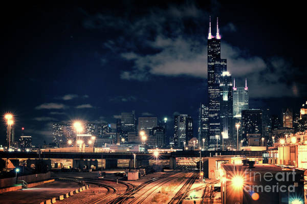 Skyscrapers Wall Art - Photograph - Chicago Skyline Cityscape At Night by Bruno Passigatti