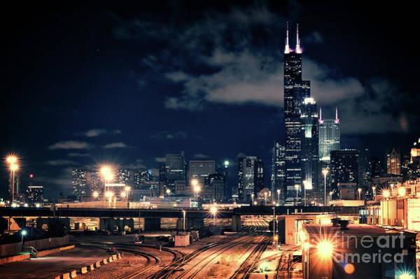 Skyscraper Wall Art - Photograph - Chicago Skyline Cityscape At Night by Bruno Passigatti