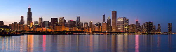Midwest Photograph - Chicago Skyline Evening by Donald Schwartz