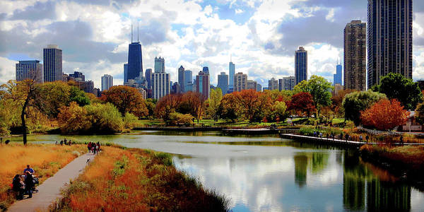 Photograph - Chicago Skyline, Fall Colors by Patrick Malon