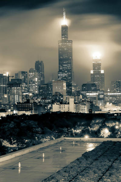 Photograph - Chicago Skyline From The Rooftop - Sepia by Gregory Ballos