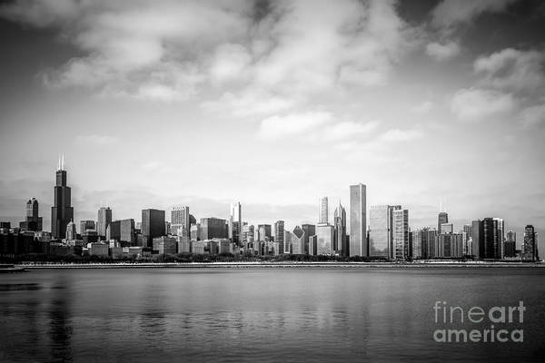 Hancock Tower Photograph - Chicago Skyline Lakefront Black And White Photo by Paul Velgos