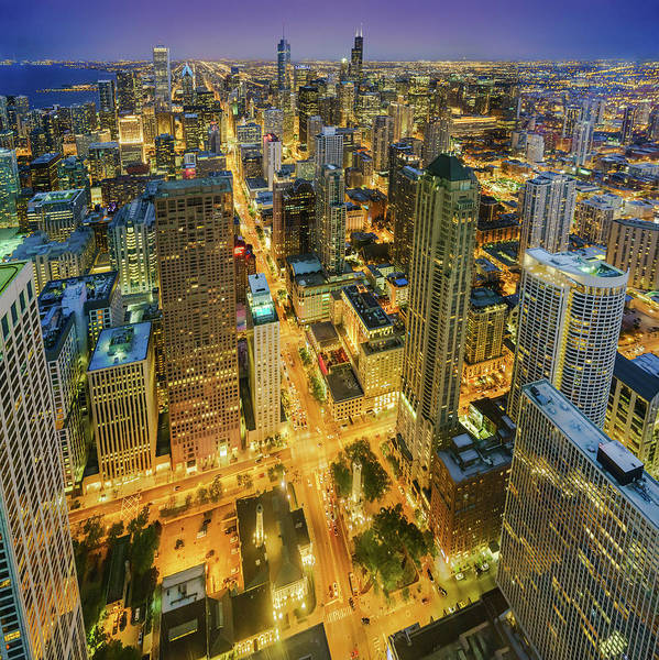 Photograph - Chicago Skyline Magnificent Mile At Night by Scott Campbell