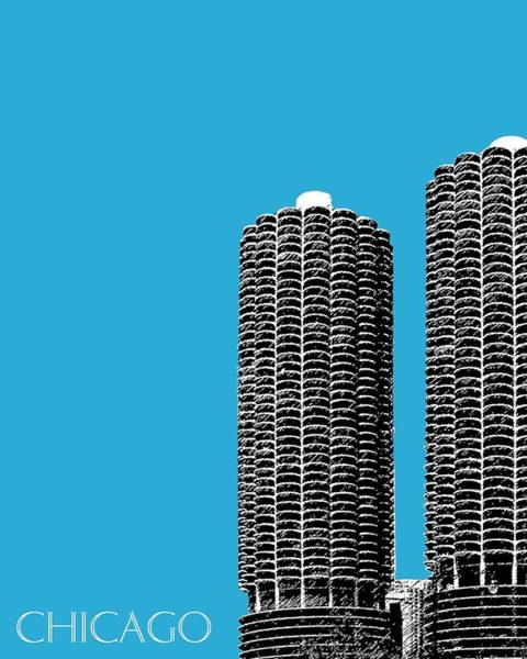 Chicago Art Digital Art - Chicago Skyline Marina Towers - Teal by DB Artist