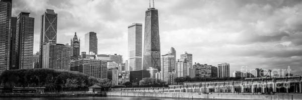 Wall Art - Photograph - Chicago Skyline Panorama Black And White Photo by Paul Velgos
