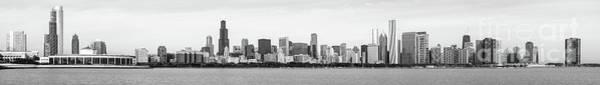 Wall Art - Photograph - Chicago Skyline Panorama High Resolution Black And White Photo by Paul Velgos