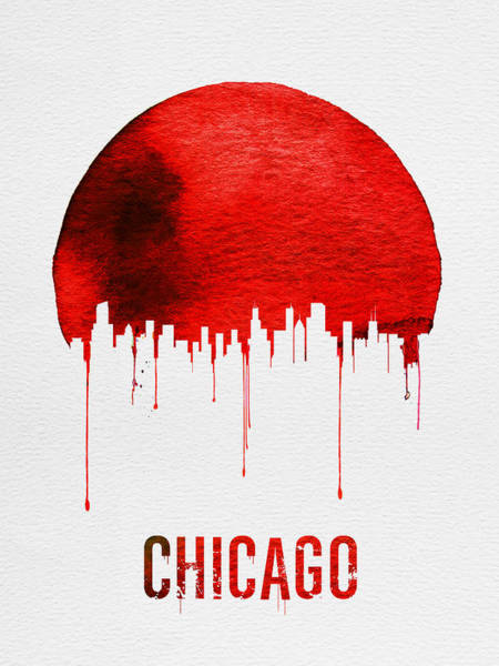 Chicago Painting - Chicago Skyline Red by Naxart Studio