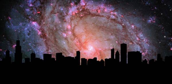 Cosmology Digital Art - Chicago Skyline Silhouette Galaxy by Ricky Barnard