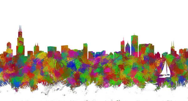Wall Art - Digital Art - Chicago Skyline Silhouette I by Ricky Barnard