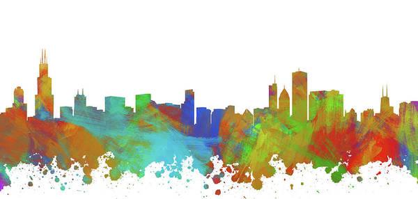 Wall Art - Digital Art - Chicago Skyline Silhouette IIi by Ricky Barnard