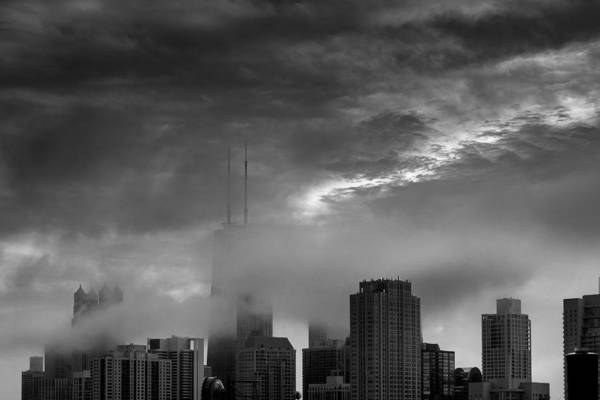 Chicago Skyline Storm B W Art Print