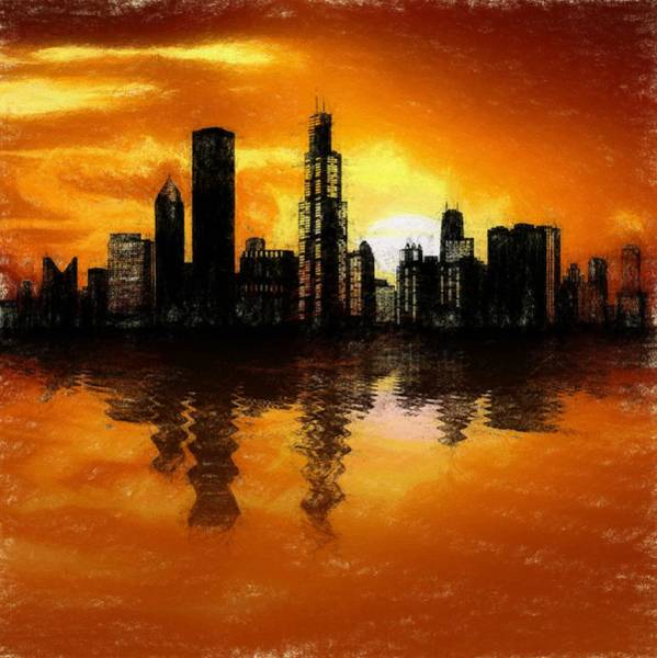 Aqua Tower Digital Art - Chicago Skyline Sunset Reflection by Dan Sproul
