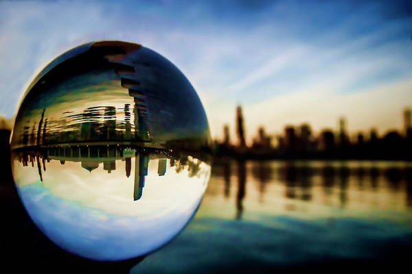 Photograph - Chicago Skyline Though A Glass Ball by Sven Brogren