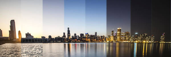 Photograph - Chicago Skyline Time Slice Panoramic Crop by Sven Brogren