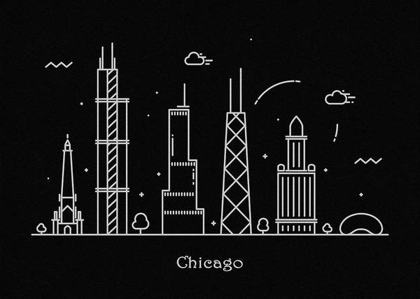 Vintage Chicago Drawing - Chicago Skyline Travel Poster by Inspirowl Design