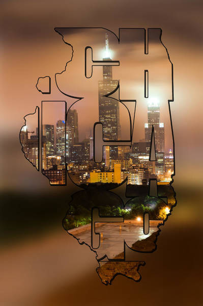 Photograph - Chicago Skyline Typography Blur - State Shape Series by Gregory Ballos