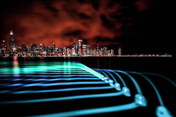 Photograph - Chicago Skyline With Blue Pixel Stick Light Painting by Sven Brogren