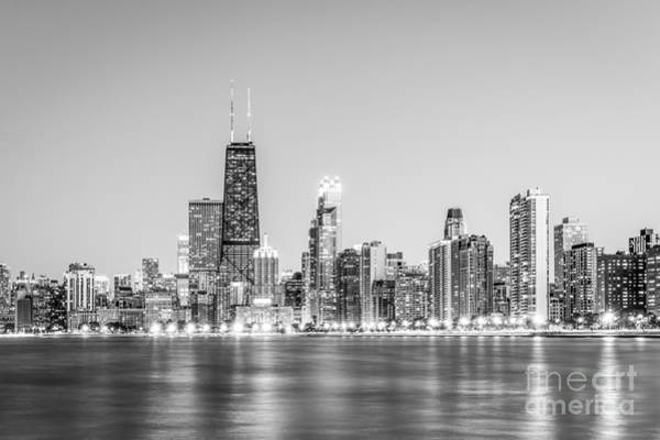 Chicago Black White Wall Art - Photograph - Chicago Skyline With Hancock Building Photo by Paul Velgos