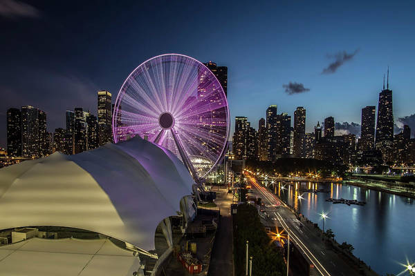 Chicago Skyline With New Ferris Wheel At Dusk Art Print