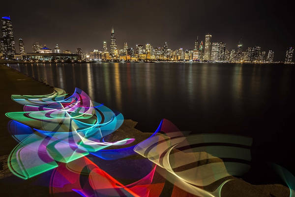 Photograph - Chicago Skyline With Pixel Stick Painting by Sven Brogren