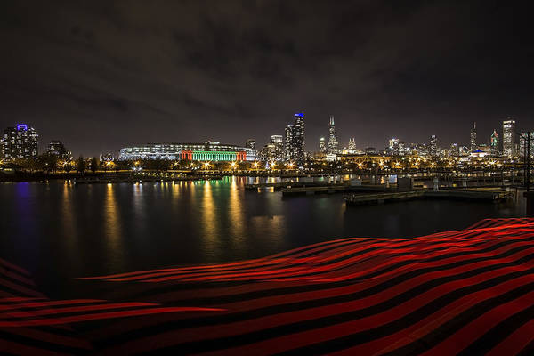 Photograph - Chicago Skyline With Red Pixel Stick At Night  by Sven Brogren