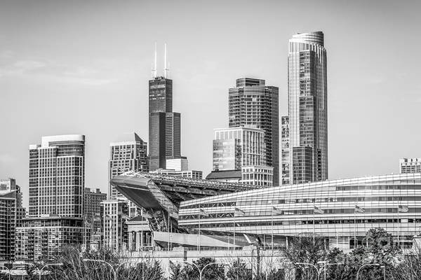 Chicago Black White Wall Art - Photograph - Chicago Skyline With Soldier Field And Willis Tower  by Paul Velgos