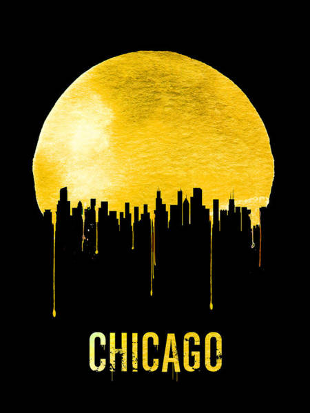 Chicago Painting - Chicago Skyline Yellow by Naxart Studio