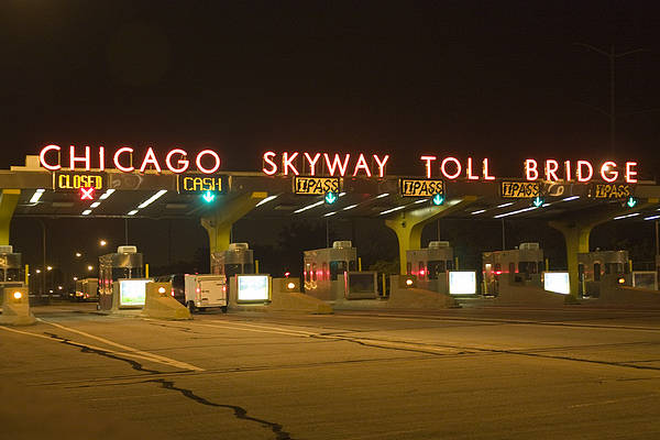 Chicago Skyway Toll Booths At Night Art Print