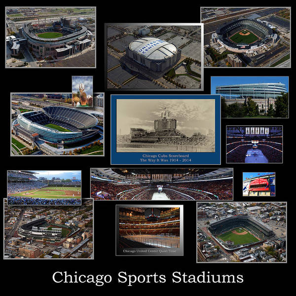 Doona Mixed Media - Chicago Sports Collage 03 Blk by Thomas Woolworth