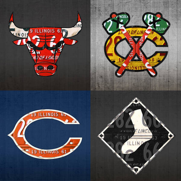 Wall Art - Mixed Media - Chicago Sports Fan Recycled Vintage Illinois License Plate Art Bulls Blackhawks Bears And White Sox by Design Turnpike